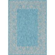 Outdoor Floral Border Rug Aqua Blue 7and039 0 X 10and039 0