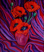 Canadian Artist....poppies In A Vase--acrylic On Canvas.