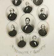 1870 Antique Engraving Of The Lincoln Cabinet. Abraham Lincoln. 150 Years Old.