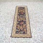 Yilong 2and039x6and039 Handknotted Silk Hallway Rug Runner Kitchen Carpet Ywx176a