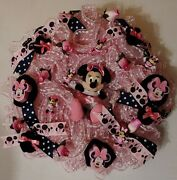 Dainty Girly Minnie Mouse Large 24 Deco Mesh Wreath Black White Pink Roses Gift