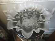 Mikasa Christmas Story Frosted 13 Round Pedestal Bowl With Ruffled Edges