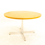 Vtg Mcm Herman Miller Style Mahogany And Chrome Round Dining Table