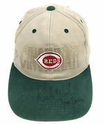Vtg Oc Cincinnati Reds Singed Autographed Mlb Adjustable Baseball Dad Hat Cap R