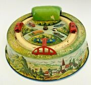 Vintage 1950s Us Zone Germany Tin Wind-up Toy Round Track 2 Cars Tunnel