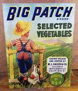 Big Patch Brand Selected Vegetables Boy Dog Fence Row Field Store Counter Sign