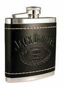 Jack Daniels No. 7 Flask Embossed Black Leather-covered Stainless 7oz W Funnel
