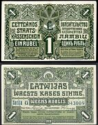Latvia Government Currency Note 1 Rublis 1919 G 043009 Wpm 2b. Vf-ef.