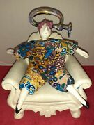 Vintage 90s Poupee Millet Doll With Clamp On The Head With Chair Signed Serggy