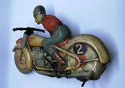Vintage Technoflix Wind Up Tin Lithographed G E 255 Motorcycle Germany Us Zone
