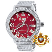 Mens Steel Ruby Red Face 18k White Gold Tone Real Diamond Dial Watch 54mm W/date
