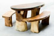 One Of A Kind Live Edge Suar Wood Dining Table And Bench Set