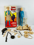 Vtg Marx Johnny West Action Figure Toy In Box Jane West Cowgirl