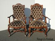 Pair Of Antique French Country Brown Accent Side Chairs W New Upholstery