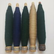 Five 5 Vintage Antique Wooden Spool Spindle Bobbins With Wool Yarn