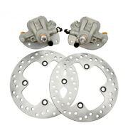 Front Brake Calipers And Brake Rotors For Yamaha Grizzly 550 Yfm550 4x4 2009-2014