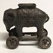 Antique Cast Iron Elephant Bank On Wheels A C Williams 1920and039s 20and039s Vintage