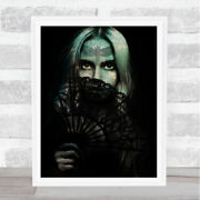 Gothic Women Holding Lace Hand Fan Home Wall Art Print