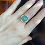Nwt 14k Solid Yellow Gold Oval Natural Jade Ring For Women- Size 6.75 - R83