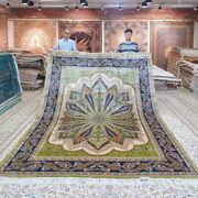 Yilong Handmade Sik Green Rug All Size Available Peacock Pattern Indoor Carpet