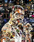 Art Collage Poster Freddie Mercury Print Made Out Of Music Albums 70-80 Years