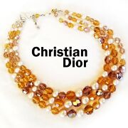 Rare Vintage Christian Dior 1959 Triple Strand Amber Glass And Pearl Bead Necklace