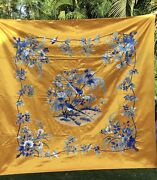Large Vintage Chinese Silk Embroidery Early 20th Century
