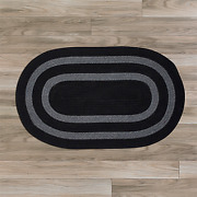 Graywood Black Bordered Wool Blend Country Farmhouse Oval Braided Rug