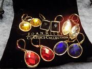 Joan Rivers Classics Colection 5 Pairs Beveled Crystal Pierced Earrings