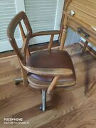 Antique Boling Chair Co. Wood Swivel Banker Office Desk Chair