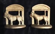 Art Deco Antique Metal Bookends With Peeking Scotty Dogs And Doghouse