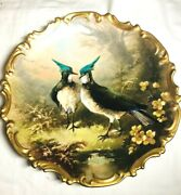 Rare L.s. And S. Limoges France Lapwings Artist Dubois Heavily Gilded Charger 1900