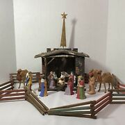Vintage Early German Nativity W/21 Figures And Creche W/star Hollow Formed Clay