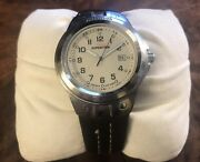 Vintage Timex Expedition Indiglo Mens Watch Wr100m Leather Band Very Nice Cr2016