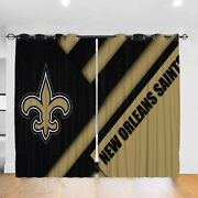 New Orleans Saints 2pcs Thermal Curtain Panel Heavy Thick Soild Window Drapes