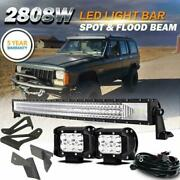 For Jeep Cherokee Xj 50 Curved Led Work Light Bar +4 18w Pods +mount Brackets