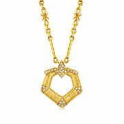 Vintage Diamond Circle Drop Necklace In 18kt Gold 15.5