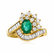 Vintage Emerald And Diamond Ring In 18kt Gold Size 6