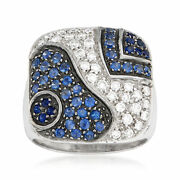 Vintage Sapphire And Diamond Fashion Ring In 18kt White Gold Size 7.5