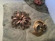Pastelli And Crown Trifari Gold Color Pins Flower Design
