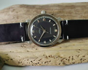 Rare 1958 Omega Seamaster Black Dial Fancy Lugs Auto Cal501 Manand039s Watch