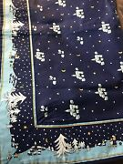 Vera Bradley Square Tablecloth Blue Holiday Vintage Card Table Size Christmas