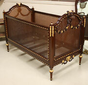 Louis Xvi Small Childand039s Bed Crib Carved Mahogany With Full Gilt Gold Accents