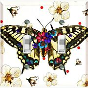 Metal Light Switch Cover Wall Plate Butterfly Flowers Red Polka Dot White But004