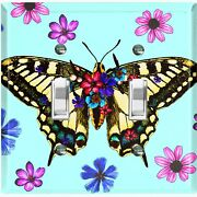Metal Light Switch Cover Wall Plate Butterfly Pink Purple Flowers Teal But005