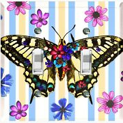 Metal Light Switch Cover Wall Plate Butterfly Flowers Teal Yellow Stripes But006