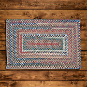 Gloucester Wool Dusk Multi Country Farmhouse Concentric Rectangle Braided Rug