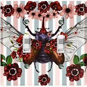 Metal Light Switch Cover Wall Plate Butterfly Beetle Red Pink Flowers But007