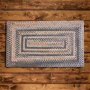 Gloucester Wool Graphite Tan Country Farmhouse Concentric Rectangle Braided Rug