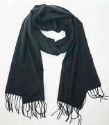 New Authentic Brioni Solid Black 100 Cashmere Lightweight Long Scarf